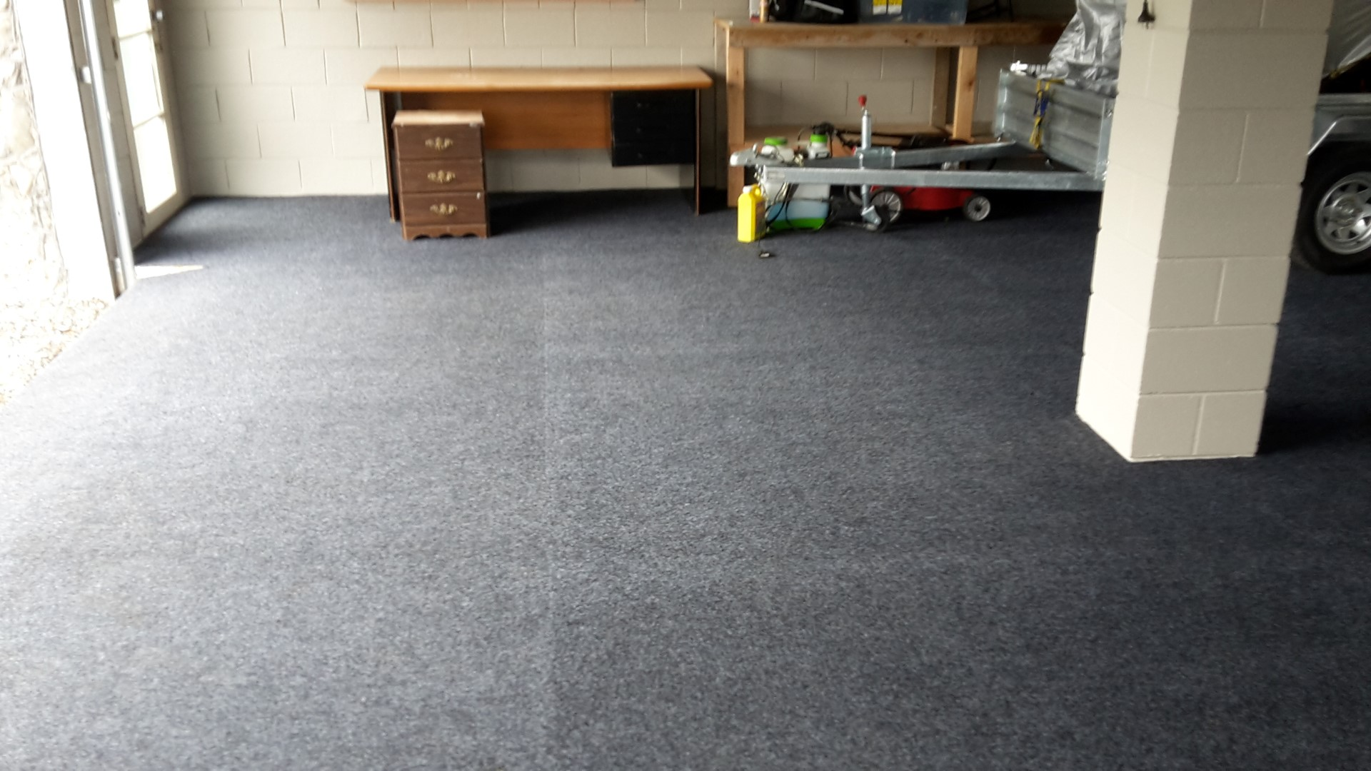 Carpet Cleaning at a garage